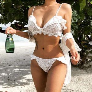 Ruffle lace bikini set size xxs - xs